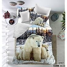 Prom Bedding 100% Brushed Polyester Microfiber Duvet Cover Set 3D Polar Bears Animal Pattern Bedding Sets Twin Size( 1 Duvet Cover ,1 Pillow Sham)