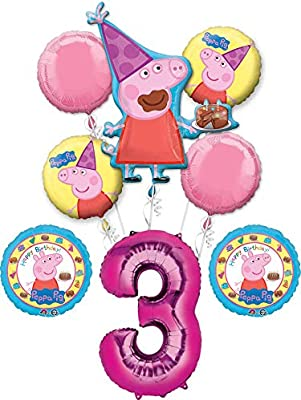 Amazon.com: Peppa Pig 3 cumpleaños fiesta globo Bouquet ...