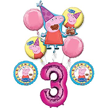Peppa Pig 3rd Birthday Party Balloon Bouquet Bundle, for 3 Year Old, Includes 8 Balloons