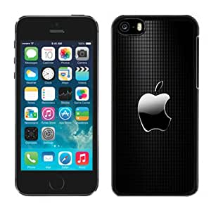 Popular And Unique Designed Case For iPhone 5C With Sleek Apple Logo with Black Grid Background Phone Case Cover