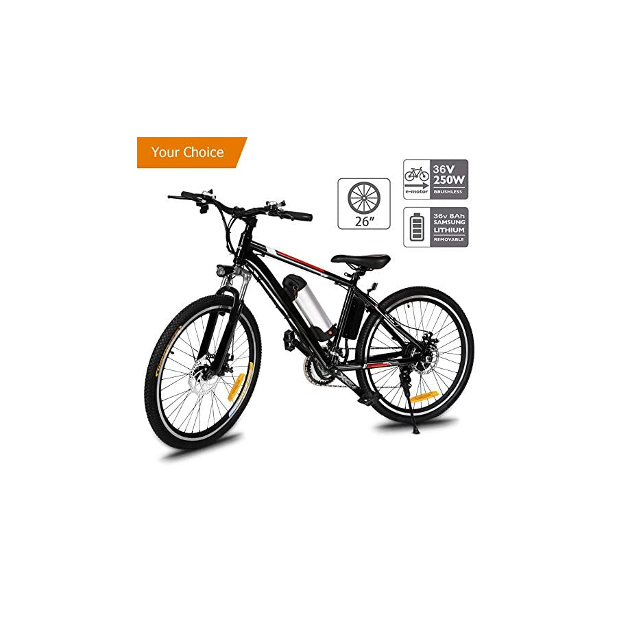 Aceshin 26'' Electric Mountain Bike with Removable Large Capacity Lithium Ion Battery (36V 250W), Electric Bike 21 Speed Gear and Two Working Modes Black (US Stock)