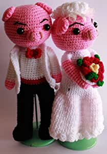 Thai Amigurumi hand Pig crochet Wedding dolls 10'' 1 couple