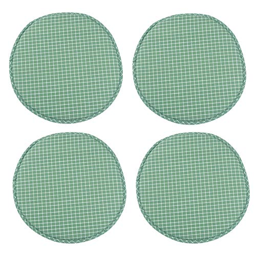 4 Pack Round Non Slip Cushions Seat Kitchen & Dining Office High Stool Chair Pads Sponge Firm Seat Bar Pad with Ties 13 Inch Green Grim