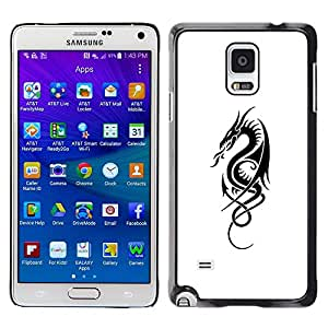 LECELL--Funda protectora / Cubierta / Piel For Samsung Galaxy Note 4 SM-N910 -- Black White Ink Tattoo Art Fire --