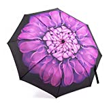 Automatic Travel Umbrella,Oak Leaf Auto Open/close Foldable Rain Umbrella, Purple -Windproof, Compact for Easy Carrying Totes
