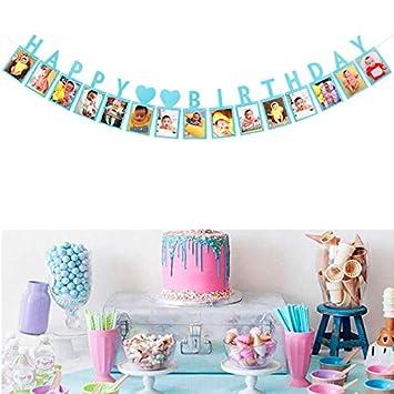 Dusenly Colorido Feliz cumpleaños Foto Banner bebé 1er ...