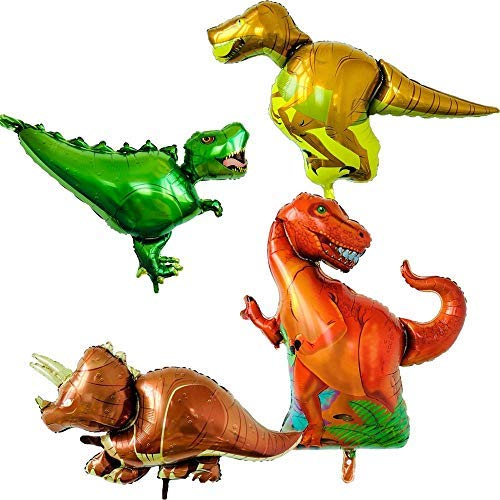 Set of 4 dinosaur balloons - Triceratops t-rex raptor allosaurus - Inflatable party supplies and decorations for kids -