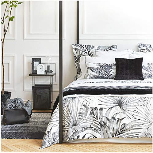 Eikei Modern Vintage Retro Mod Print Bedding Egyptian Cotton Duvet Cover Set Minimalist Chic Botanical Design Asian Zen Style Reversible Pattern in Full Queen or King Size (Queen, Black and White) (Yellow Gray Bedding And Target)