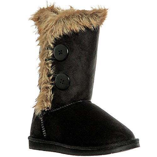 shoewhatever Fur Lined Mid-Calf Snow Boots (8, blackel)