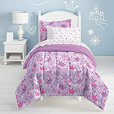 Dream Factory Purple Princess Hearts And Crowns Girls Comforter Set, Multi, Twin: Home & Kitchen
