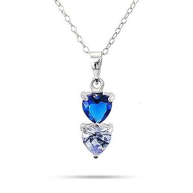 f24c6841ca Amazon.com: Sterling Silver Personalized 2 Stone Custom Simulated Birthstone  Heart Drop Pendant Necklace, 16