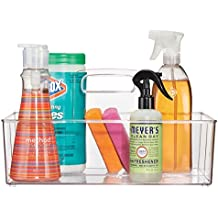 mDesign Kitchen Storage Organizer Tote for Spray Bottles, Cleaning Products, Sponges - Clear