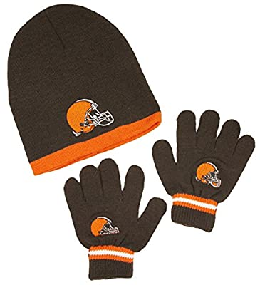 Cleveland Browns NFL Little Boys Knit Hat and Gloves Set - Brown (Kids 4-7)