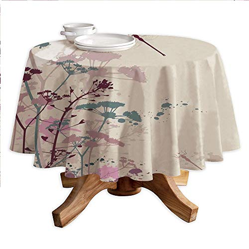 """Dragonfly Round Polyester Tablecloth,Plants and Petals with Dragonfly Soft Color Design with Grunge Effects Vintage Style,Dining Room Kitchen Round Table Cover,60"""" Tablecloth Multi"""