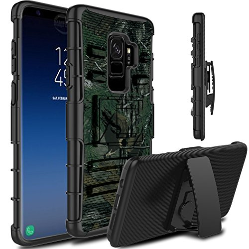 Galaxy S9 Plus Case, Venoro Heavy Duty Shockproof Armor Holster Defender Full Body Rugged Protective Case Cover with Kickstand and Belt Swivel Clip for Samsung Galaxy S9+ / SM-G965U / SM-G965F