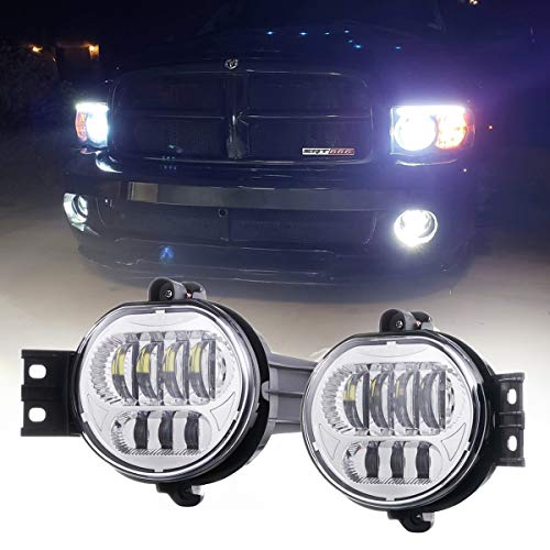 Z-OFFROAD 2pcs 63W LED Fog Lights Lamps Replacement for 2002-2008 Dodge Ram 1500 2003-2009 Ram 2500 3500 2004-2006 Durango Truck, Driver and Passenger Side - Silver