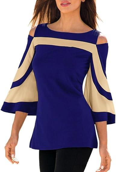 VENMO Camisetas Hombro Descubierto Mujer, Mujeres Atractivas Cuello Redondo De La Túnica De Manga Larga Camisas De Hombro Frío Blusas Sudadera: Amazon.es: Ropa y accesorios
