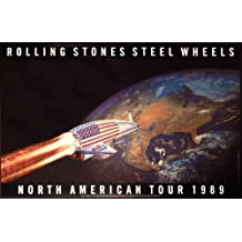 "Original 1989 Rolling Stones ""North American Tour"" Mint Sealed Poster - Steel Wheels Tongue Replaces Stars on the American Flag (Large Size 22"" X 34"") Dated 1989"