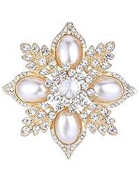 Ever Faith Wedding Flower Ivory Color Simulated Pearl Austrian Crystal Clear Brooch Pendant