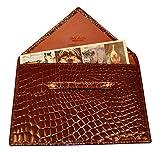 Budd Leather Company Croco Bidente Photo Envelope, Cognac, 4.5 x 6.5'' (US 41856-51)