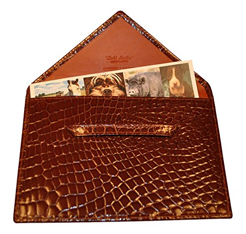 Budd Leather Company Croco Bidente Photo Envelope, Cognac, 4.5 x 6.5'' (US 41856-51) by Budd Leather