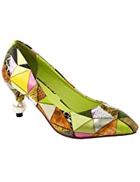 Show Story Women's Multicoloured Triangles Print Pointed Toe Exquisite Pearl Heel Dress Pump,LF60407