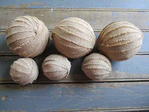 From The Attic Crafts Burlap Rag Balls Decorative Bowl Fillers 4 inch and 2.5 inch set of 6 by From The Attic Crafts (Image #3)