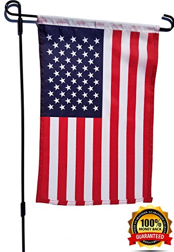 "JK & Co. Garden & Yard Flag Holder with 12""x 18"" American Fl"