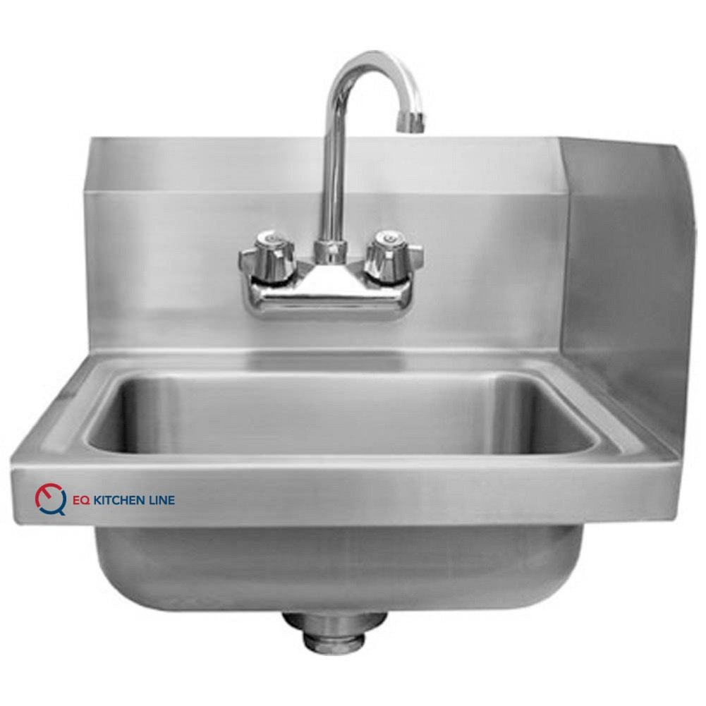 EQ Kitchen Line Stainless Steel Commercial Compartment Sink with Right Side Splash, 16'' L x 12'' W x 13'' H by EQ Kitchen Line