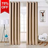 TEKAMON Thermal Insulated Blackout Room Darkening Grommet Curtains for Living Room/Bedroom (2 Panels, W52 X L84 Inches,Warm Camel)