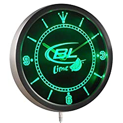 Time2LightUp Bud Light Lime Beer Bar Neon Sign LED Wall Clock 10 Inches Round LED Neon Wall Clock Green