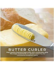 Butter Knife 3-in-1 Spreader, Grater, Slicer and Curler, Kitchen, Cutlery, NEW Stainless Steel Butter Spreader, Knife - 3 in 1 Kitchen Gadgets, Magic Butter Knife Spreader and Cheese Cutter, Curl Your Butter