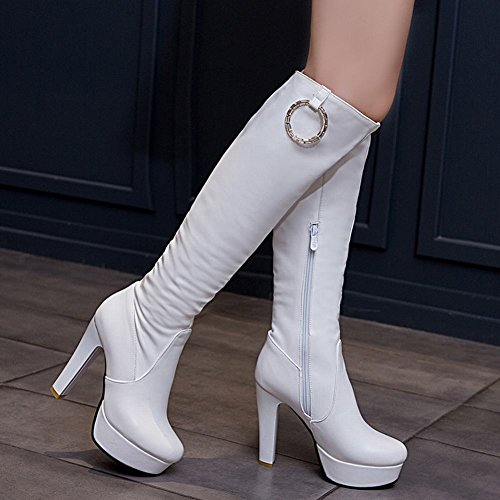Mee Shoes Charm High-heel Knee-high Platform Western Boots White IvKgcGg