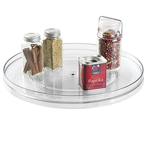 mDesign Lazy Susan Turntable Spice Organizer Rack for Kitchen Pantry, Cabinet, Countertops - 14