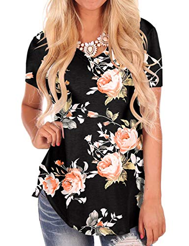 Rose Print T Shirts for Valentine's Day Women Tops Short Sleeve Summer Tee Black