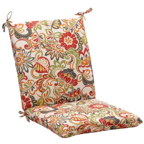 (Pillow Perfect Indoor/Outdoor Multicolored Modern Floral Square Chair Cushion)