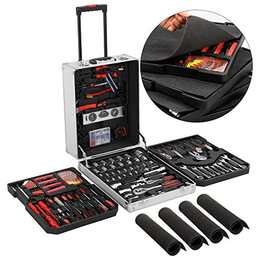 go2buy Tool Box with Tools Mechanic Travel Tool Box Tool Kit Wrenches Socket Aluminum Trolley Tool Box Organizer w/ 1099 Pieces Tools by go2buy (Image #4)