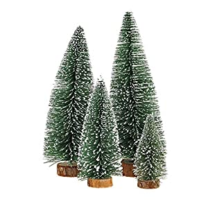 KKSHINE Desktop Miniature Pine Tree tabletop christmas tree small pine tree decor christmas tree toppers 16