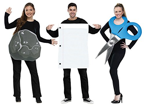 UHC Rock Paper Scissors Trio Duo Pair Funny Theme Party Adult Couple Costume, -