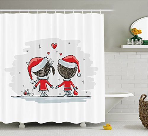 [Christmas Decorations Shower Curtain Set by Ambesonne, Soul Mates Love Couples With Santa Costumes Family Romance Winter Night Picture, Bathroom Accessories, 75 Inches Long, Red] (Unique Santa Costumes)
