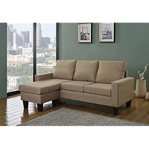 LIFE Home Home Life Canvas Linen Cloth Modern Contemporary Upholstered  Quality Sectional Left Or Right Adjustable Sectional Sofa, Large,  Beige/Light Brown