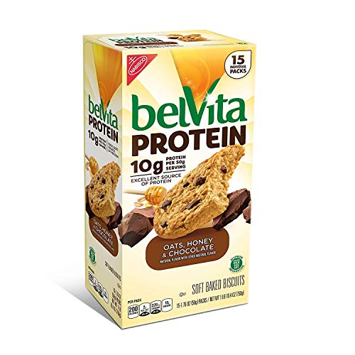 Belvita PROTEIN Soft Baked Biscuits - Oats Honey Chocolate Flavor -15 Packs - Value Pack!
