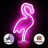XIYUNTE Flamingo Light Neon Signs - LED Neon Lights Light up Flamingo Night Lights with Pedestal, Battery and USB Operated Bedside and Table Lamps,Room Decor for Children's Bedroom,Christmas,Wedding