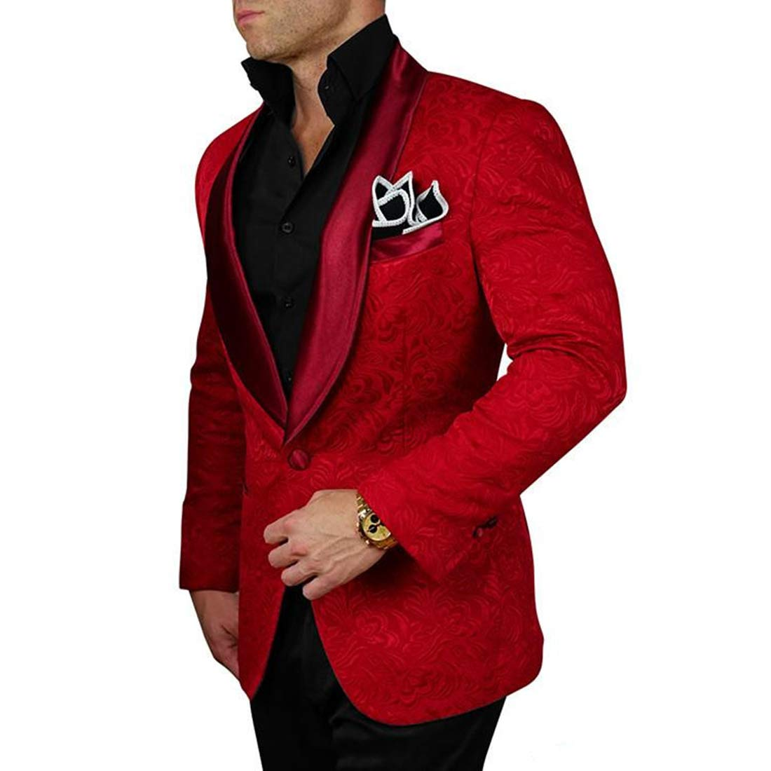 Calvinsuit Men's Three Pieces Suit Shawl Lapel Mens Suit Wedding Blazer Tuxedos CZ180930017