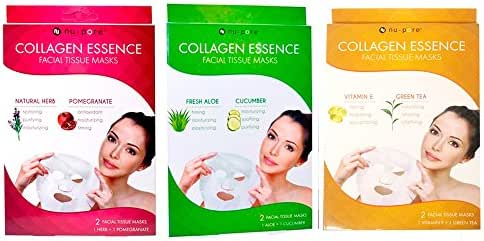 2 Pack Nu-Pore Collagen Essence Facial Tissue Masks Natural Herb Pomegranate 4pc