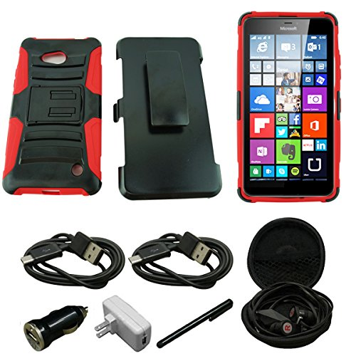 Mstechcorp- For Lumia 640 Case, Microsoft Lumia 640 Armor Series - Heavy Duty Dual Layer Holster Case Kick Stand with Locking Belt Swivel Clip - Includes [Car Charger] + [Wall Charger] + [Stylus] + [Hands Free Earphone With Carrying Case] + [2 Data Cables] (H RED)