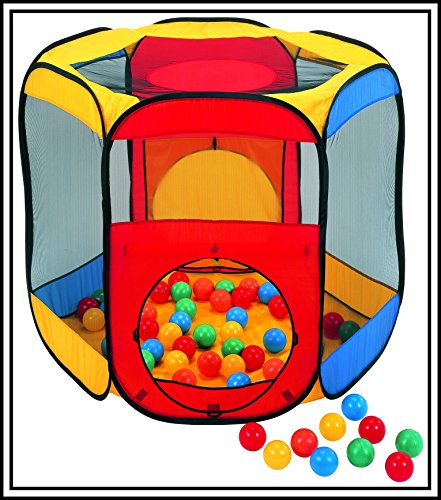 """Nice size Pop Up Magic Ball Tent 48"""" x 41"""" x 38"""" with 100 Colorful Play Balls, A great Fun Product for ages of 3 and up (See Picture Details) by Magic01"""