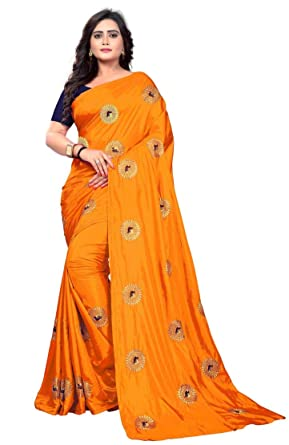 420ad96ea7ced Varudi Fashion Women s Embroidered Paper Silk Saree With Blouse Piece ( orange)