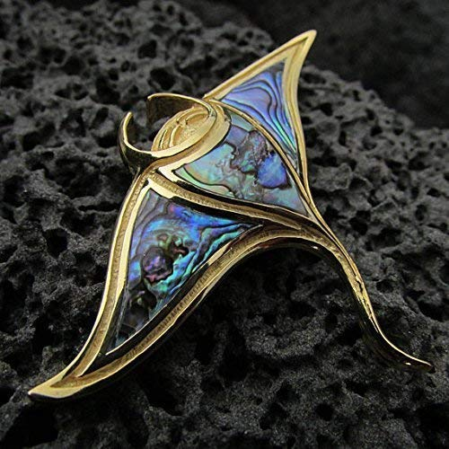 18K Gold Vermeil Manta Ray Stingray Necklace Pendant Handmade | Abalone | Paua Shell | Sterling Silver ()