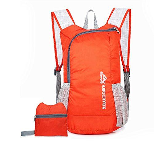 Outdoor Foldable Backpack 15L Ultra Lightweight Waterproof Folding Hiking Daypack for Travel Camping School Sports (Orange)